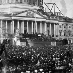 March 1861 inaugural at the                                 Capitol building                                .                                 The dome                                above the rotunda was still under construction.