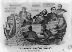 """""""Running the 'Machine'"""": An 1864 political cartoon takes a swing at Lincoln's administration—featuring                                 William Fessenden                                ,                                 Edwin Stanton                                ,                                 William Seward                                ,                                 Gideon Welles                                , Lincoln and others."""
