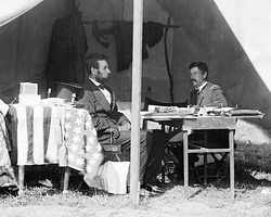 Lincoln and                                 George McClellan                                after the                                 Battle of Antietam                                in 1862.