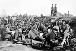 Union soldiers before Marye's Heights,                                 Fredericksburg, just prior to the battle of May 3, 1863                                .