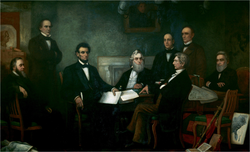 Lincoln presents the first draft of the Emancipation Proclamation to his cabinet. Painted by                                 Francis Bicknell Carpenter                                in 1864