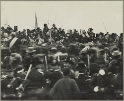 The only confirmed photo of Abraham Lincoln at Gettysburg, some three hours before                                 the speech                                .
