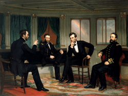 President Lincoln (center right) with, from left, Generals                                 Sherman                                and                                 Grant                                and Admiral                                 Porter                                –                                 1868 painting                                of events aboard the                                                   River Queen                                                 in March 1865