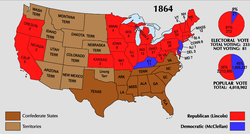 An                                 electoral                                landslide (in red) for Lincoln in the 1864 election, southern states (brown) and territories (light brown) not in play