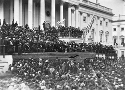 Lincoln's second inaugural address in 1865 at the almost completed Capitol building