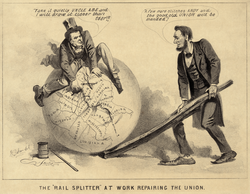 """A political cartoon of Vice President Andrew Johnson (a former tailor) and Lincoln, 1865, entitled """"The 'Rail Splitter' At Work Repairing the Union."""" The caption reads (Johnson):                                 Take it quietly Uncle Abe and I will draw it closer than ever.                                (Lincoln):                                 A few more stitches Andy and the good old Union will be mended."""