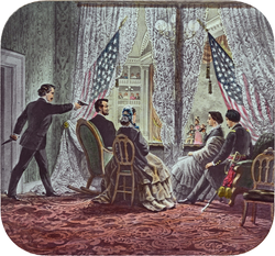 Shown in the presidential booth of Ford's Theatre, from left to right, are assassin                                 John Wilkes Booth                                , Abraham Lincoln,                                 Mary Todd Lincoln                                ,                                 Clara Harris                                , and                                 Henry Rathbone                                .