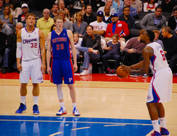 Jordan about to take a free throw in 2013. Jordan, a regular recipient of the                                 Hack-a-Shaq                                strategy, has made less than 40% of his free throws in four different seasons.