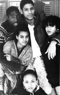 2Pac and Jada Pinkett (bottom) with their high school crew
