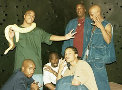 "Shakur and the Outlawz on set of ""Made Niggaz"" video shoot in 1996"