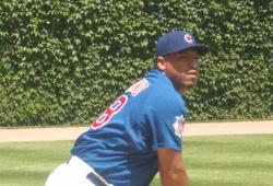 Carlos Zambrano warming up before a game.