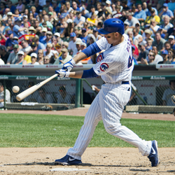 One of two Cubs building blocks, Anthony Rizzo, swinging in the box.