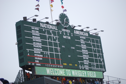 Wrigley Field's manual scoreboard in center field