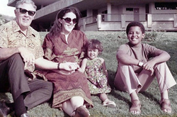 Obama with his half-sister Maya Soetoro-Ng, mother Ann Dunham and grandfather Stanley Dunham, in Honolulu, Hawaii