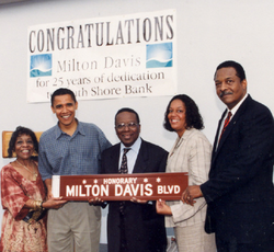 Obama and others celebrate the naming of a street in Chicago after ShoreBank co-founder Milton Davis in 1998