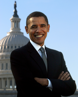 Obama in his official portrait as a member of the United States Senate