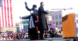 Obama stands on stage with his wife and daughters just before announcing his presidential candidacy in                                 Springfield, Illinois                                , February 10, 2007