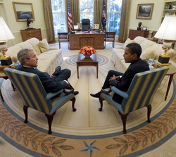 President George W. Bush meets with President-elect Obama in the Oval Office on November 10, 2008