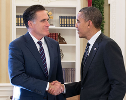 Former Governor Mitt Romney and President Barack Obama shake hands in the Oval Office on November 29, 2012, following their first meeting since President Obama's re-election