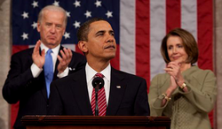 Obama delivering a                                 speech at joint session of Congress                                with Vice President                                 Joe Biden                                and                                 House Speaker                                                 Nancy Pelosi                                on February 24, 2009