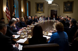 Obama meets with                                 the Cabinet                                , November 23, 2009
