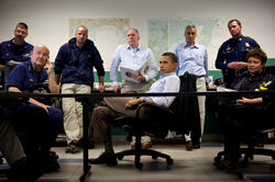 Obama at a 2010 briefing on the BP oil spill at the Coast Guard Station Venice in Venice, Louisiana
