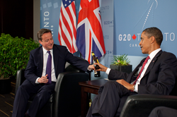 Meeting with UK Prime Minister David Cameron during the 2010 G20 Toronto summit