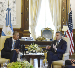 President Obama meets with Argentine President                                 Mauricio Macri                                in                                 Buenos Aires                                , March 23, 2016