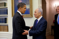 Obama meeting with Israeli President                                 Shimon Peres                                , May 2009