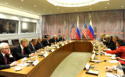 President Obama meets with Russian President                                 Vladimir Putin                                to discuss Syria and Daesh, September 29, 2015