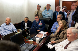 President Barack Obama along with members of the national security team, receive an update on Operation Neptune's Spear, in the White House Situation Room, May 1, 2011. See also: Situation Room
