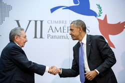 Meeting between President Obama and Cuban President                                 Raúl Castro                                in Panama, April 2015
