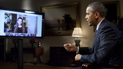Obama conducting the first completely virtual interview from the White House in 2012                                                   [48]