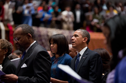 Obama and First Lady worship at African Methodist Episcopal Church in Washington, D.C., January 2013