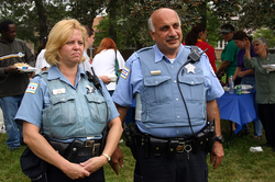 Chicago Police Department officers in                                 Marquette Park                                .