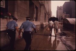 Chicago Police in the rain in 1973 on Michigan Avenue