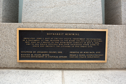 Marker under the                                 Haymarket monument                                at Chicago Police headquarters
