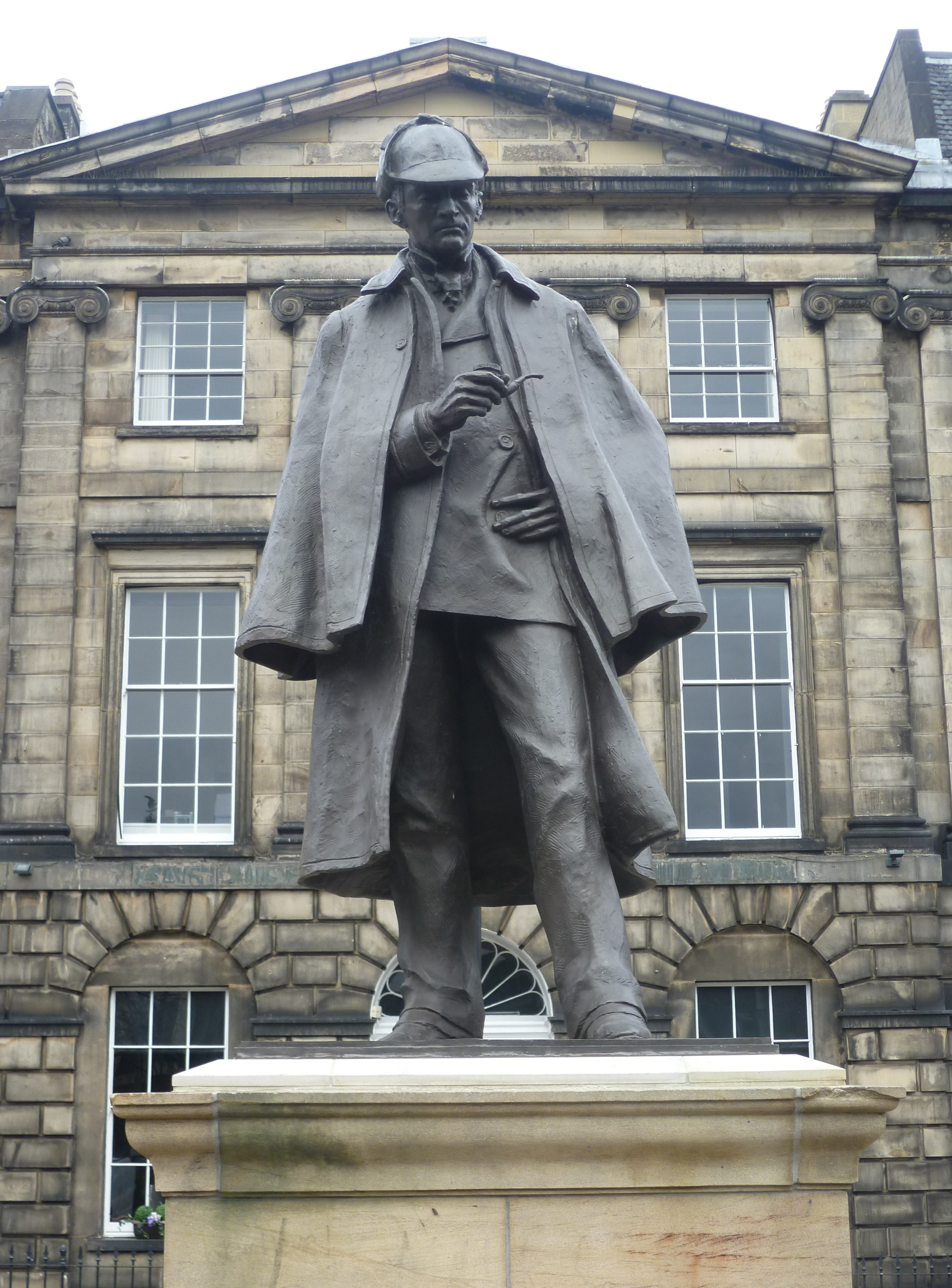 Sherlock Holmes statue in Edinburgh, erected opposite the birthplace of Doyle, which was demolished c. 1970
