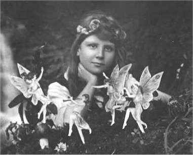 One of the five photographs of Frances Griffiths with the alleged fairies, taken by Elsie Wright in July 1917
