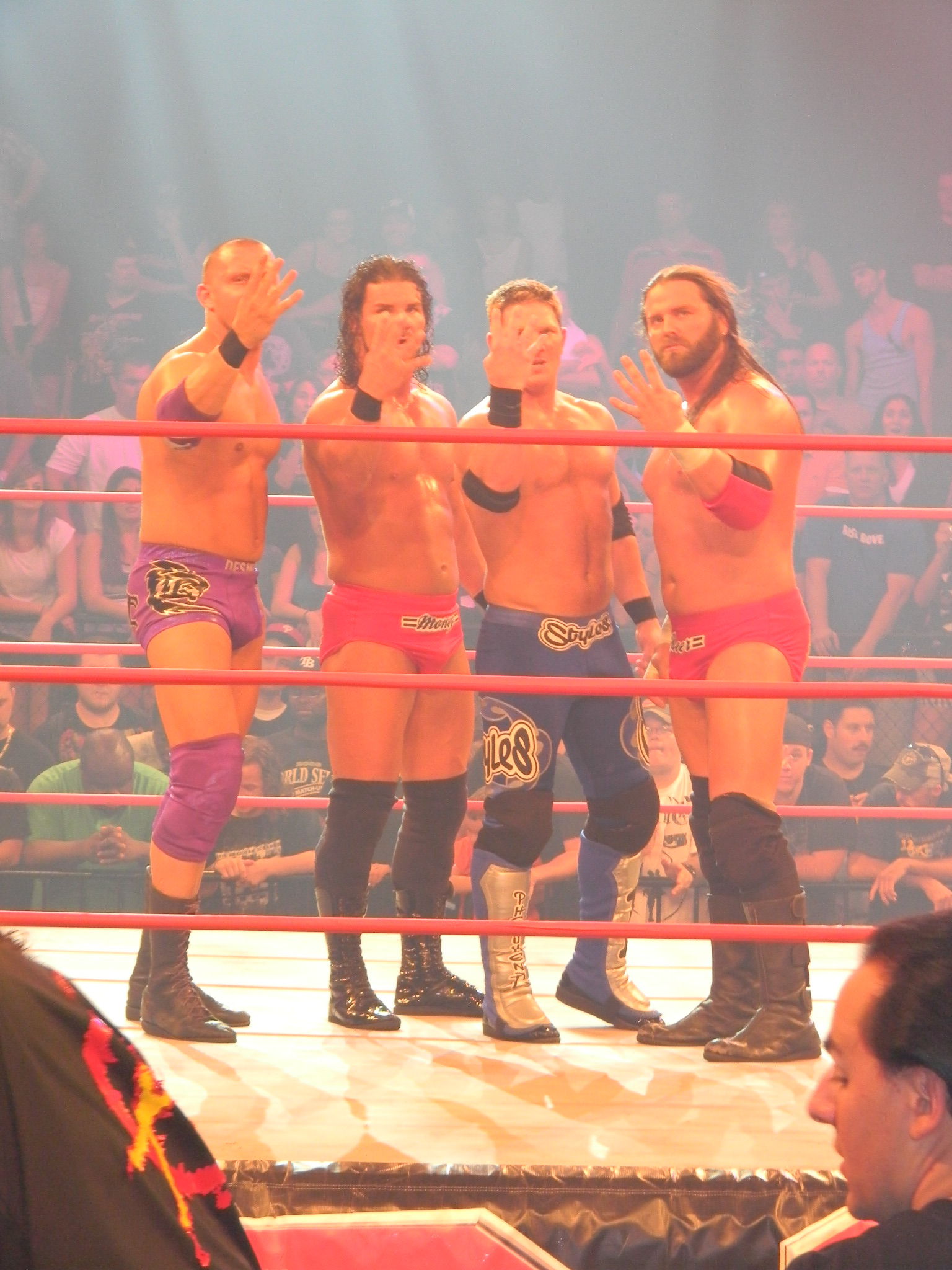 Fourtune hopefuls: (from left to right) Desmond Wolfe, Robert Roode, Styles, and James Storm