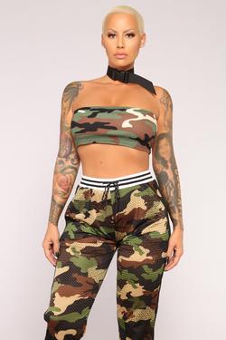Amber Rose wearing a Fashion Nova camo outfit