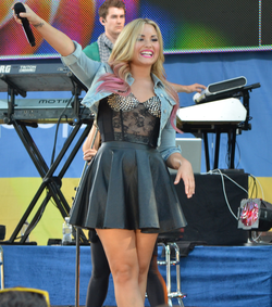 Lovato performing on Good Morning America in July 2012 as part of their Summer Concert Series
