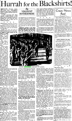 """The """"Hurrah for the Blackshirts"""" article by Lord Rothermere"""