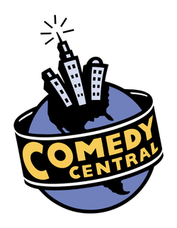 "The original Comedy Central logo used from 1991-2000. An earlier variant of this logo has the ""Comedy Central"" text bigger, almost taking up the marquee sign; that variant lasted until 1995."