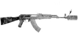 AK-47 with Kalashnikov grenade launcher mounted on the muzzle