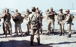 A                                 Soviet                                                 Spetsnaz                                (special operations) group prepares for a mission in Afghanistan, 1988
