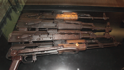AK-47 copies confiscated from Somali pirates by Finnish mine-layer                                 Pohjanmaa                                during                                 Operation Atalanta                                , photographed in Manege Military Museum. The stocks are missing on the top three AKs