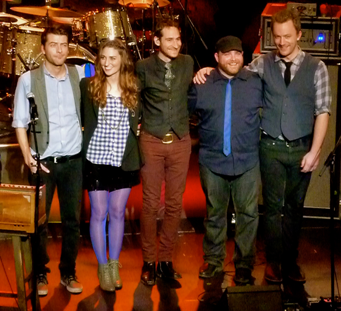 Bareilles and her former band during her Kaleidoscope Heart Tour at the Warfield on December 16, 2010. Left to right: Javier Dunn, Bareilles, Philip Krohnengold, Josh Day, Daniel Rhine