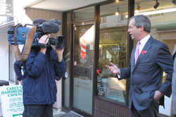 Farage at the opening of the UKIP office in Basingstoke, in 2012