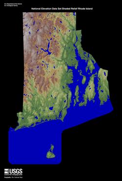 Terrain map of Rhode Island